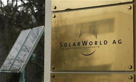 The company sign of Solarworld AG is pictured at their headquarters in Bonn in this November 19, 2008 file photo. REUTERS/Ina Fassbender