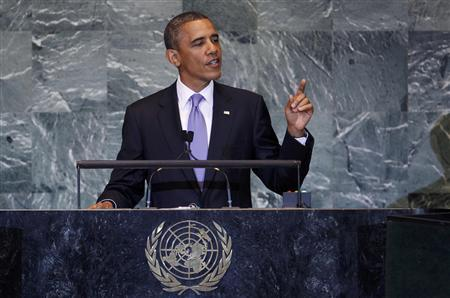 President Barack Obama addresses the 66th United Nations General Assembly at the U.N. headquarters in New York, September 21, 2011. REUTERS/Shannon Stapleton