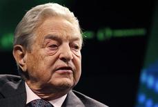 <p>Billionaire financier George Soros speaks at a Reuters Newsmaker event in New York September 15, 2010. S REUTERS/Mike Segar</p>