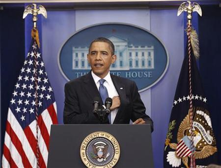 President Barack Obama holds a news conference in the briefing room of the White House in Washington, July 11 2011. REUTERS/Kevin Lamarque