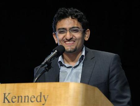 2011 Profiles in Courage Awards recipient Wael Ghonim, representing the people of Egypt for their popular uprising demanding democratic reforms, speaks during the Profiles in Courage Award ceremony at the John F. Kennedy Library in Boston, Massachusetts May 23, 2011. REUTERS/Brian Snyder