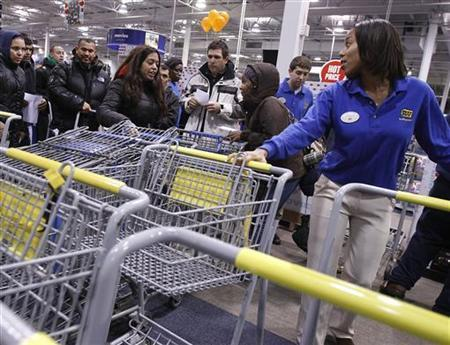 People reach for shopping carts during Black Friday sales at the Best Buy electronics store in Westbury,New York November 26, 2010. REUTERS/Shannon Stapleton