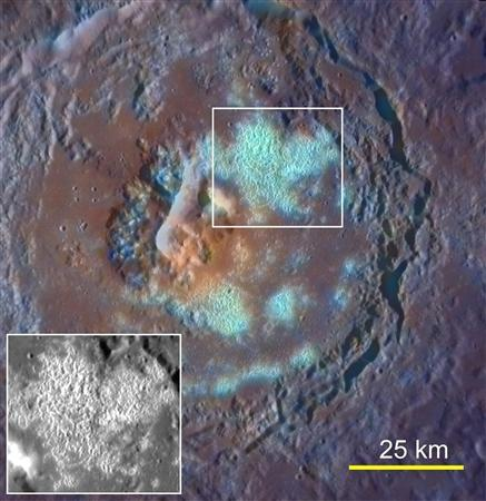 Undated NASA Messenger probe images obtained on September 29, 2011, shows a large crater with a floor partially covered by large numbers of Coalesced Hollows. Mercury may have a lot in common with Earth, but close-up images and data captured by NASA'S MESSENGER probe this year show it's still a bit of a planetary weirdo. REUTERS/NASA/Handout