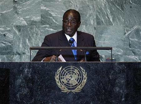 Zimbabwean President Robert Mugabe addresses the 66th United Nations ...