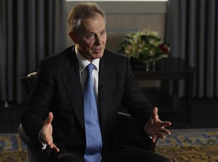 Former British Prime Minister Tony Blair speaks during an interview with Reuters in London September 2, 2011. REUTERS/Luke MacGregor