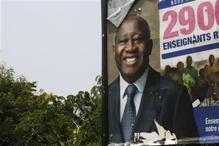 An election billboard showing ousted former president Laurent Gbagbo in Abidjan, April 14, 2011. REUTERS/Finbarr O'Reilly
