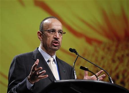Saudi Aramco President and CEO Khalid Al-Falih speaks to delegates at the 21st World Energy Congress in Montreal, September 13, 2010. REUTERS/Shaun Best