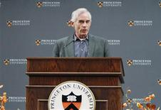 <p>Nobel Prize for Economics winner Professor Christopher Sims of Princeton University speaks during a news conference at Princeton University in Princeton, New Jersey, October 10, 2011. REUTERS/Tim Shaffer</p>
