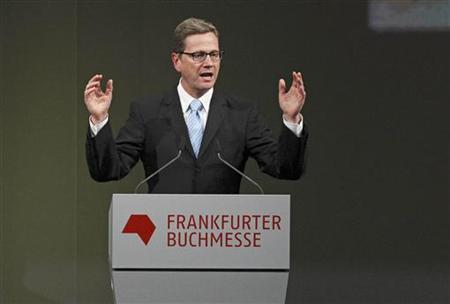 German Foreign Minister Guido Westerwelle delivers a speech during the opening ceremony of the 63rd Frankfurt Book Fair in Frankfurt October 11, 2011. REUTERS/Alex Domanski