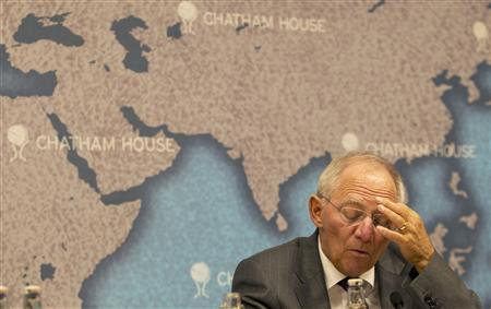 German finance minister Wolfgang Schauble speaks at Chatham House in central London October 17, 2011. REUTERS/Olivia Harris