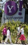 <p>Yahoo est parvenu à remplir les attentes des marchés avec des résultats du troisième trimestre en baisse, mais conformes aux attentes des investisseurs. /Photo d'archives/REUTERS/Lucy Nicholson</p>