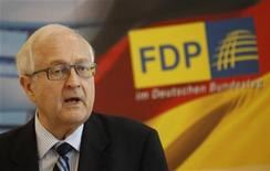 <p>The parliamentary faction leader of the Free Democratic Party (FDP) Rainer Bruederle speaks before a faction meeting in Berlin, September 27, 2011. REUTERS/Thomas Peter</p>