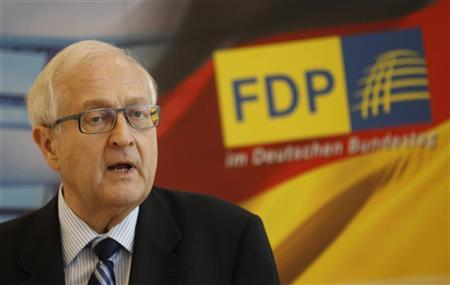 The parliamentary faction leader of the Free Democratic Party (FDP) Rainer Bruederle speaks before a faction meeting in Berlin, September 27, 2011. REUTERS/Thomas Peter