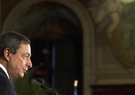 Incoming European Central Bank (ECB) President Mario Draghi speaks at the ''World Savings Day'' meeting in Rome October 26, 2011. REUTERS/Stringer