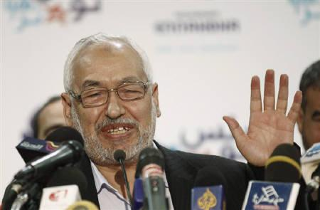Rachid Ghannouchi, the leader of the Islamist Ennahda party, speaks during a news conference in Tunis October 28, 2011. REUTERS/Zoubeir Souissi
