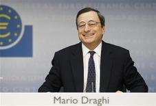 <p>The European Central Bank President Mario Draghi reacts during his first news conference in Frankfurt, November 3, 2011. REUTERS/Alex Domanski</p>