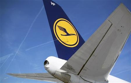 The tail of of Germany's Deutsche Lufthansa aircraft is pictured at Frankfurt Airport April 7, 2010. REUTERS/Johannes Eisele
