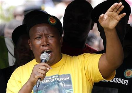 African National Congress Youth League (ANCYL) leader Julius Malema addresses his supporters during a march in Johannesburg October 27, 2011. REUTERS/Siphiwe Sibeko