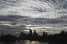 <p>The skyline of Frankfurt is pictured under clouds August 7, 2010. REUTERS/Alex Domanski</p>