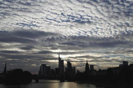 The skyline of Frankfurt is pictured under clouds August 7, 2010. REUTERS/Alex Domanski