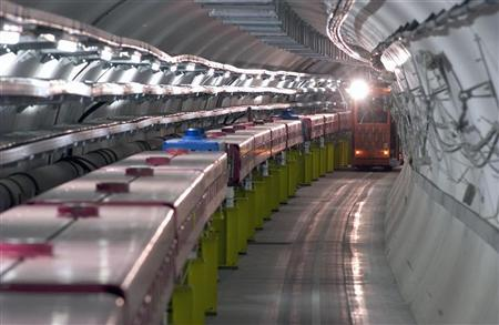 The Super Proton Synchrotron (SPS) tunnel, located at the CERN particle research centre near Geneva, is seen in this undated handout photograph. REUTERS/CERN-INFS/Handout