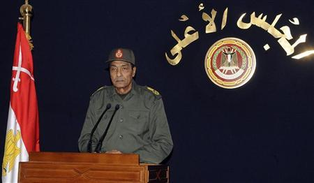 Field Marshal Mohamed Hussein Tantawi, the head of the ruling Supreme Council of the Armed Forces (SCAF), speaks in Cairo November 22, 2011.(MENA)/Handout