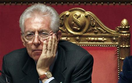 Italian Prime Minister Mario Monti looks on at the Senate in Rome December 5, 2011. REUTERS/Tony Gentile