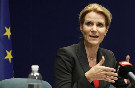 Denmark's Prime Minister Helle Thorning-Schmidt addresses a news conference at the end of an European Union leaders summit in Brussels December 9, 2011. REUTERS/Sebastien Pirlet