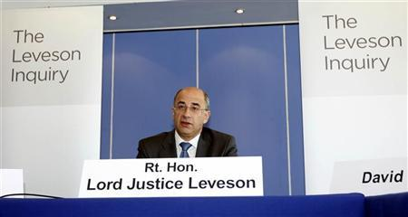 Lord Justice Brian Leveson speaks at the inquiry into alleged phone hacking by the British media, at the Queen Elizabeth II Conference Centre in London July 28, 2011. REUTERS/Sean Dempsey/pool