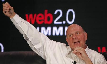 Microsoft CEO Steve Ballmer gestures during the Web 2.0 Summit in San Francisco, California October 18, 2011. REUTERS/Robert Galbraith