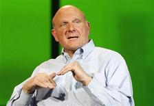 <p>Microsoft CEO Steve Ballmer speaks at the last opening Microsoft keynote at the Consumer Electronics Show opening in Las Vegas January 9, 2012. REUTERS/Rick Wilking</p>