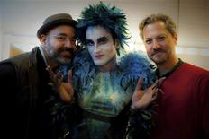 """<p>Cast member Kerem Can, who stars in """"Zenne the Dancer"""", poses with co-directors of the movie Caner Alper (L) and Mehmet Binay (R) at a backstage in Istanbul March 14, 2011. On a hot summer's day in 2008, 26-year-old physics student Ahmet Yildiz was shot dead when he popped out from his Istanbul apartment to buy ice cream. The main suspect in the killing, a fugitive still wanted by Turkish police, is Yildiz's father, who could not accept that his only son was in a homosexual relationship. The case, widely believed to be Turkey's first gay """"honor killing"""", has inspired the movie """"Zenne"""", which opened on January 13 and explores gay sexual identity and prejudice in overwhelmingly Muslim Turkey. REUTERS/Sara Anjargolian/CAM Film/Handout</p>"""