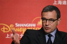 <p>Robert Iger, president and chief executive officer of Walt Disney Co, speaks during a news conference after the ground breaking ceremony of the Shanghai Disneyland theme park in Pudong of Shanghai April 8, 2011. REUTERS/Aly Song</p>