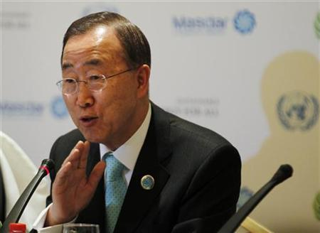 United Nations Secretary-General Ban Ki-moon speaks at a press conference during the World Future Energy Summit at the Abu Dhabi National Exhibition Centre January 16, 2012. REUTERS/Jumana El Heloueh