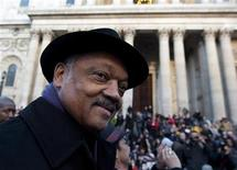 <p>U.S. civil rights leader Reverend Jesse Jackson addresses the crowd at the Occupy London site outside St Paul's Cathedral, December 15, 2011. REUTERS/Ki Price</p>