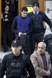 <p>Mohammad Shafia (front R), his son Hamed Shafia (C) and his second wife Tooba Mohammad Yahya (top L) leave the Frontenac County Courthouse in Kingston, Ontario January 29, 2012. The three were found guilty of first-degree murder on Sunday. They were charged with killing Mohammad Shafia's three daughters Zainab Shafia, 19, Sahar Shafia, 17, and Geeti Shafia, 13, as well as Mohammad's first wife, Rona Amir Mohammed. REUTERS/Lars Hagberg</p>