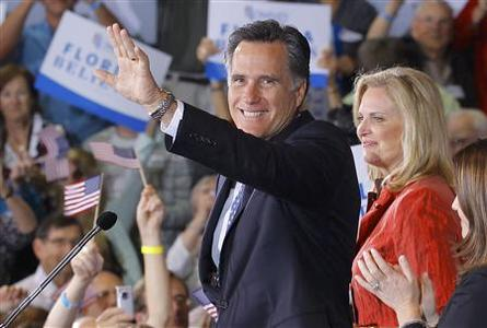 Republican presidential candidate and former Massachusetts Governor Mitt Romney and his wife Ann celebrate at his Florida primary night rally in Tampa, Florida January 31, 2012. REUTERS/Brian Snyder
