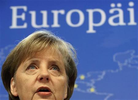 Germany's Chancellor Angela Merkel holds a news conference after a European Union summit in Brussels January 30, 2012. REUTERS/Sebastien Pirlet