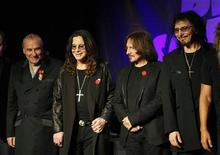 <p>Original members of the rock band Black Sabbath, Bill Ward (L), Ozzy Osborne (2nd L), Geezer Butler and Tony Lommi (R), announce their reunion during a news conference at the Whiskey A Go Go, the club where the band first performed 41 years ago, in Los Angeles, California November 11, 2011. REUTERS/David McNew</p>