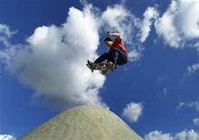 <p>Professional skateboarder Jordan Hoffart of Canada takes some air off a transition in Oceanside, California December 14, 2011. REUTERS/Mike Blake</p>