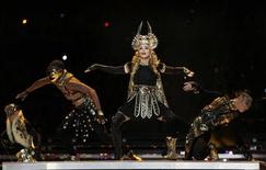 <p>Madonna performs during the halftime show at the NFL Super Bowl XLVI football game between the New York Giants and the New England Patriots in Indianapolis, Indiana, February 5, 2012. REUTERS/Jeff Haynes</p>
