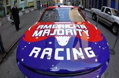 <p>The new NASCAR American Majority Racing team race car is seen in New York City, February 9, 2012. REUTER/Mike Segar</p>