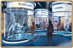 <p>The Blues Lab, seen in this artist's rendering will be the central hub where visitors can utilize a number of interactives, including recording and 'jamming' in an interpretive setting at the National Blues Museum in St. Louis, Missouri, in this undated handout photo from the National Blues Museum website. The National Blues Museum would be a part of an ongoing public and private effort to revitalize the St. Louis riverfront. REUTERS/National Blues Museum/Handout</p>