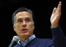 <p>Republican presidential candidate and former Massachusetts Governor Mitt Romney speaks at a Republican Caucus in Portland, Maine February 11, 2012. REUTERS/Brian Snyder</p>