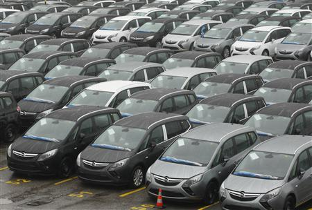 New Opel cars are pictured at the Opel plant in Bochum February 16 , 2012. REUTERS/Ina Fassbender