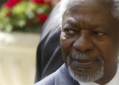 Kofi Annan, the U.N.-Arab League Special Envoy on Syria, attends an after-meeting with Arab League Secretary-General Nabil Al Araby at the Arab League headquarters in Cairo March 8, 2012. REUTERS/Amr Abdallah Dalsh