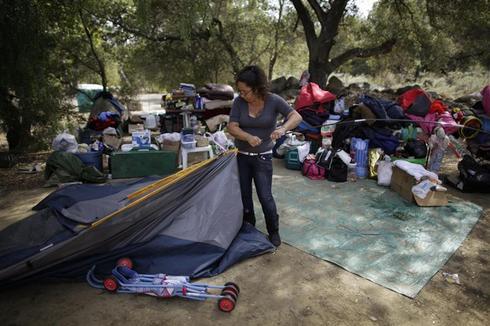 An American homeless family