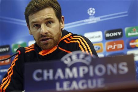 Chelsea's coach Andre Villas-Boas attends a news conference before their Champions League last 16 first leg soccer match against Napoli, in Naples February 20, 2012. REUTERS/Tony Gentile