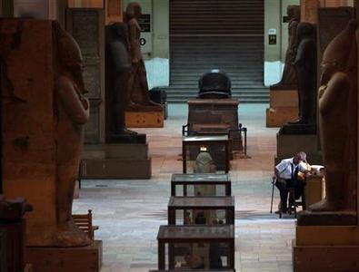 Security personnel guard the Egyptian Museum during a visit by UNESCO Director-General Irina Bokova in Cairo June 13, 2011. REUTERS/Amr Abdallah Dalsh
