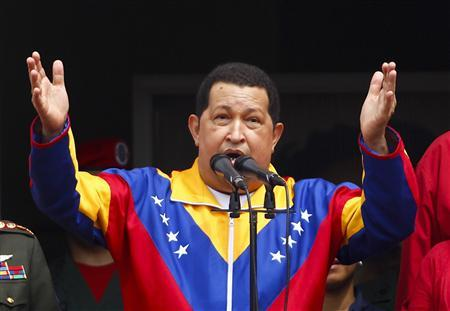Venezuela's President Hugo Chavez speaks as he attends a ceremony at Miraflores Palace in Caracas March 17, 2012. REUTERS/Carlos Garcia Rawlins